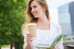 Young business Woman with coffee to Go Stock Photography