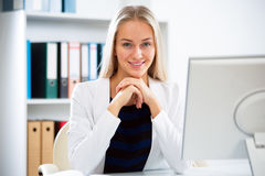 Young business woman with computer Stock Photo