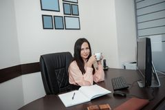 Young business woman with computer in the office stock image