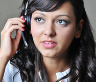 Young business woman in conversation royalty free stock photos