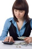 Young business woman counts money Royalty Free Stock Images