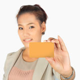 Young  business woman with a credit card Royalty Free Stock Photography