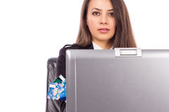 Young business woman with credit card and laptop Stock Photos