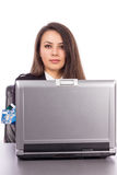 Young business woman with credit card and laptop Royalty Free Stock Photography