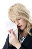 Young Business Woman Crying Using Tissue Stock Photography