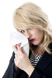 Young Business Woman Crying Using Tissue Royalty Free Stock Photography