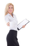 Young business woman with cup of coffee and clipboard isolated o Stock Photo