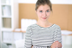 Young business woman designer in office. Successful startup business concept. Young business woman designer in office. Successful startup business concept Stock Photo