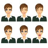 Young business woman with different facial expressions Royalty Free Stock Photography