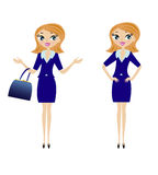 Young business woman in different pose Royalty Free Stock Images