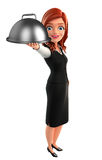 Young Business Woman with dish pan Royalty Free Stock Photos