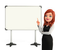 Young Business Woman with display board Stock Photo