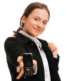 Young business woman displaying a cellphone Royalty Free Stock Photography