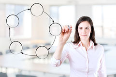 Young business woman drawing circle diagram. Royalty Free Stock Images