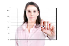 Young business woman drawing on empty graph. Stock Images