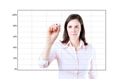 Young business woman drawing on empty graph. Young business woman drawing on empty graph 1.  on white Stock Images