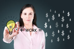 Young business woman drawing. Royalty Free Stock Image
