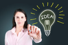 Young business woman drawing a light bulb. Stock Photography