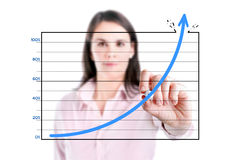 Young business woman drawing over target achievement graph, white background. Stock Photo