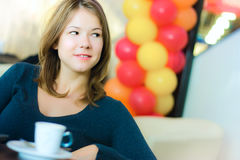 Young business woman drinking coffee Royalty Free Stock Photo