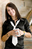 Young business woman drinking morning coffee Royalty Free Stock Image