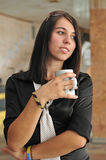 Young business woman drinking morning coffee Stock Photo