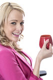 Young Business Woman Drinking a Mug of Tea Royalty Free Stock Image
