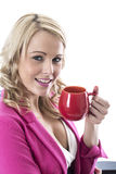 Young Business Woman Drinking a Mug of Tea Stock Images