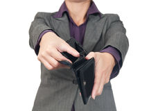 Young business woman with empty wallet - broke Stock Image