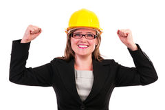 Young business woman enjoying success. With hands up on white background Royalty Free Stock Image