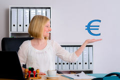 Young business woman with euro sign Royalty Free Stock Photos