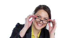 Young business woman with eyeglasses isolated white background Stock Photo
