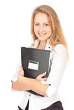 Young business woman with folder Royalty Free Stock Images