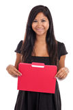 Young business woman with folder Stock Images