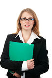 Young business woman with folder Royalty Free Stock Image