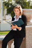 Young business woman with a folder Stock Photo