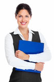 Young business woman with folder. Portrait of happy young business woman isolated on white background Royalty Free Stock Image