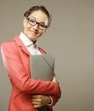 Young business woman with folders Stock Photography