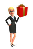 Young Business Woman with gift box Stock Images