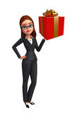 Young Business Woman with gift box Stock Photo