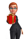Young Business Woman with gift box Stock Photos