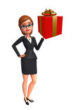 Young Business Woman with gift box Royalty Free Stock Images