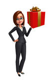 Young Business Woman with gift box Royalty Free Stock Photos