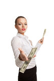 Young business woman give one bank note with scorn Royalty Free Stock Photos