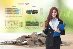 Young business woman giving presentation stock images