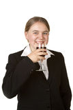 Young business woman with glass of wine Stock Photos