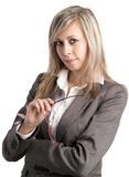 Young business woman with glasses Stock Images