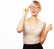 Young business woman in glasses Stock Images