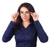 Young business woman with glasses, isolated over white Royalty Free Stock Image