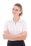 Young business woman in glasses isolated on white Royalty Free Stock Image